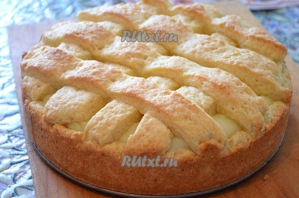 Яблочный пирог с кремом фото