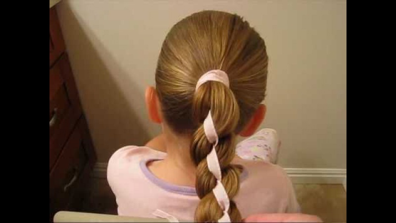 How to do a 4 Strand Braid with Ribbon In It