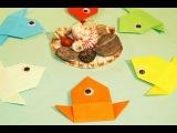 Простые Рыбки Оригами для детей. Веселые поделки оригами из бумаги.