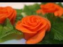 Украшение блюд Роза из моркови Украшение из овощей