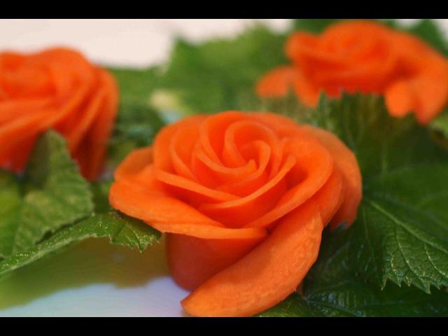 Украшение блюд. Роза из моркови. Украшение из овощей.