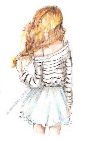 Рыжая девочка картинка нарисованная
