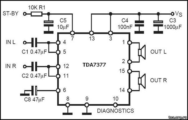 ТДА7377 по такой схеме.