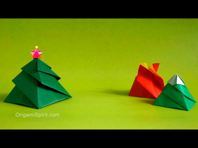 Origami Christmas tree Box -3 Variations : : Caja Remolino