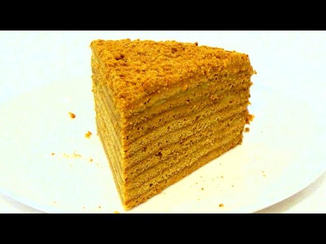 Торт Рыжик Медовик с заварным кремом Пошаговый видео рецепт смотреть онлайн без регистрации