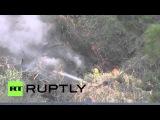 США: Пожарные бой 350-акров кисти пожар в Санта-Кларита.