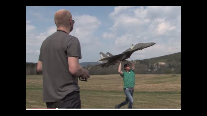 Giant RC SU-37 Super flanker jet, SECOND AND THIRD FLIGHT, Scratchbuilt Depron electric pusher prop