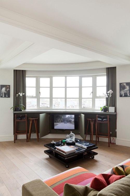 Дизайн квартиры необычной формы 34 м в Лондоне.