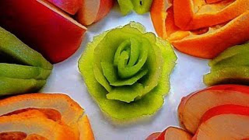 Роза из киви! Как красиво нарезать фрукты! Rose of kiwi! Decoration of fruits!