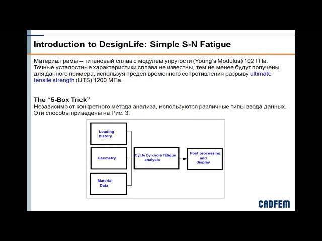 Видеоурок CADFEM VL1106 - Построение рабочих проектов для анализа усталостной долговечности ч.1