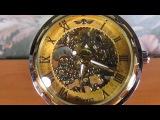 Мужские часы скелетоны Winner золотистые