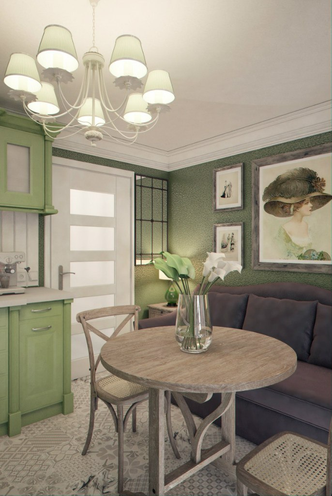 Еще одна вариация для прямоугольной квартиры-студии 36 м (но можно приспособить и под меньшую площадь) от Марины Саркисян, Москва.