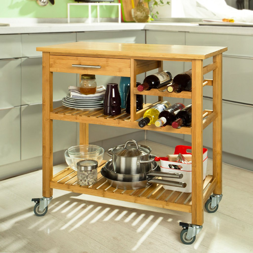 Carro carito de cocina comedor mesa auxiliar almac n for Mesa auxiliar de cocina con ruedas