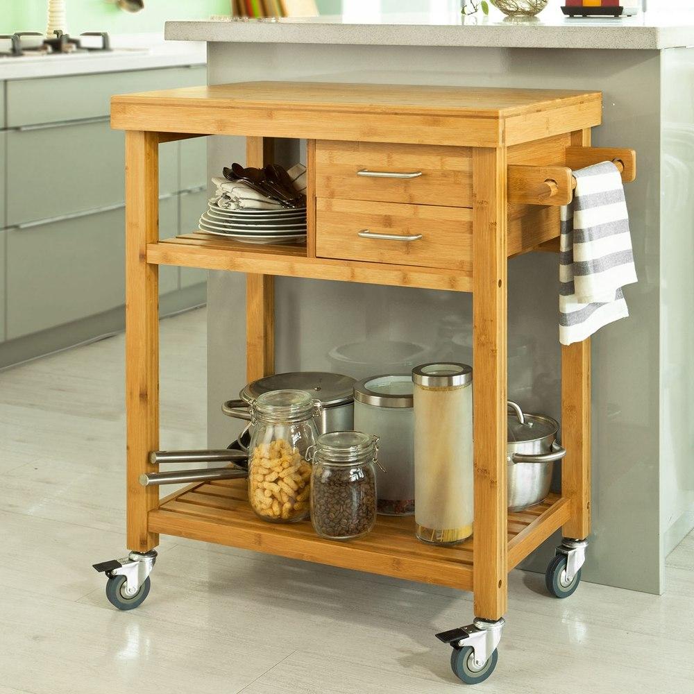 Carro carito de cocina mesa auxiliar almac n m vil con for Mesa auxiliar de cocina con ruedas
