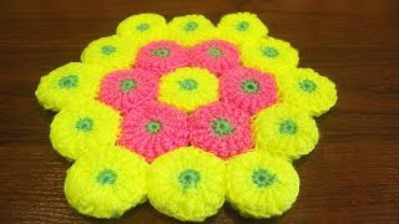 Коврик крючком. Вязание коврика. Мотивы крючком. Витые столбики. (rug crochet)