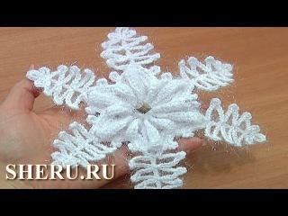 How To Make Crochet Snowflakes Урок 9 часть 1 из 2 Вязаная снежинка крючком