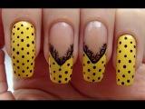 Нежный дизайн ногтей с кружевом и горошком // Delicate design nails with lace and peas