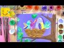 Как нарисовать птиц в гнезде - урок рисования для детей от 4 лет, рисуем дома поэтапно