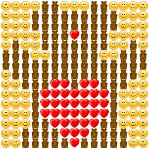Сердце из смайликов как сделать