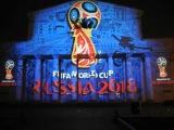 Презентация официальной эмблемы ЧМ-2018 по футболу на фасаде Большого театра