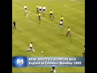 Rene Higuita's amazing scorpion kick save