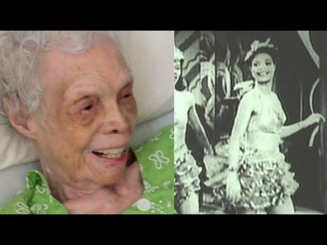 102-летняя танцовщица впервые видит себя в кино. Искренне.