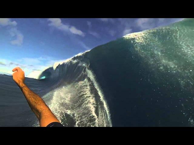 Garrett McNamara Teahupoo Tahiti 3 angles, GoPro survived wipeout