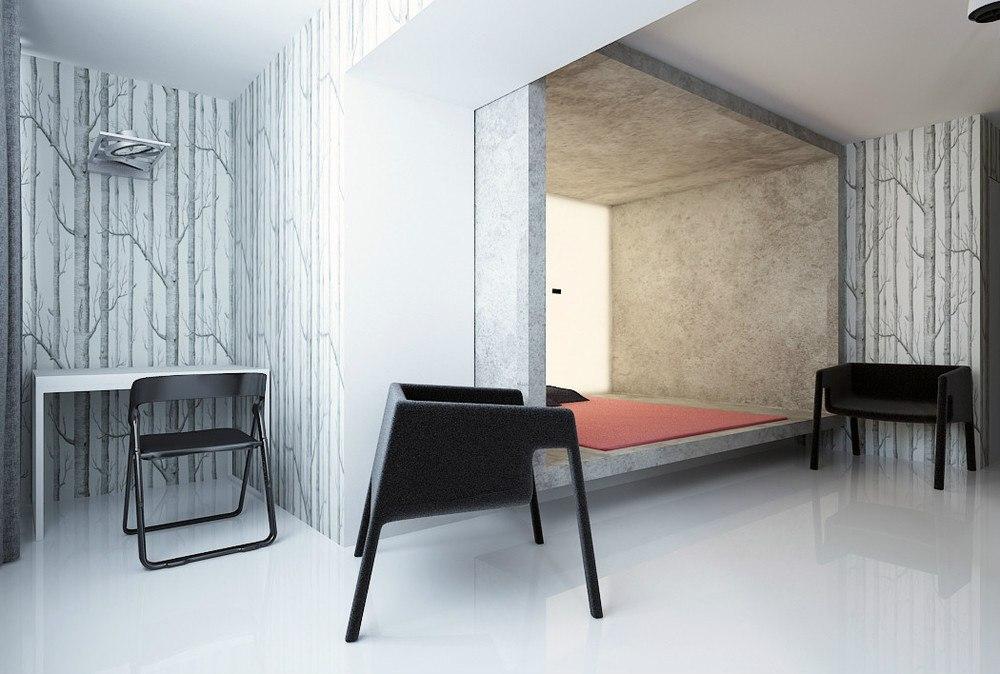 Стильный и аскетичный проект квартиры 33 м в Казахстане.