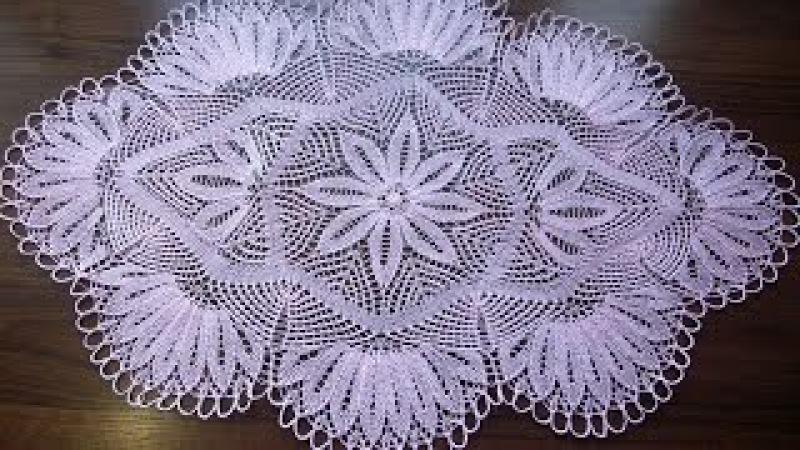 Салфетка спицами часть 1 Центр (knitting cloth part 1 center)