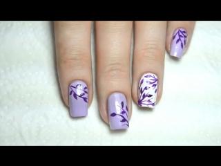 Роспись на ногтях для начинающих. Easy Floral Nail Art for beginners