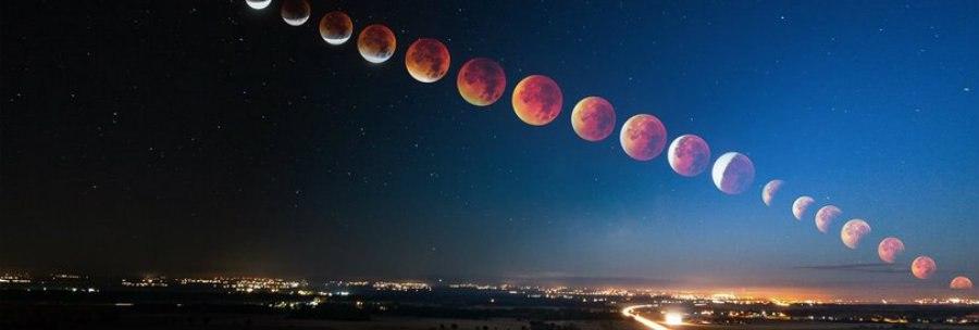 Все стадии лунного затмения 28 сентября 2015 года специально для студентов Екб