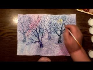 Быстрое Рисование | Зимний Лес | Мятая Бумага | Гуашь