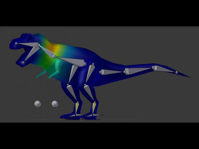 Риггинг низкополигонального динозавра в Blender
