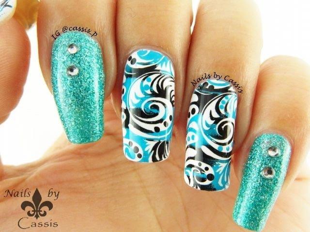 Turquoise x Black Swirly Stamping Nail Art