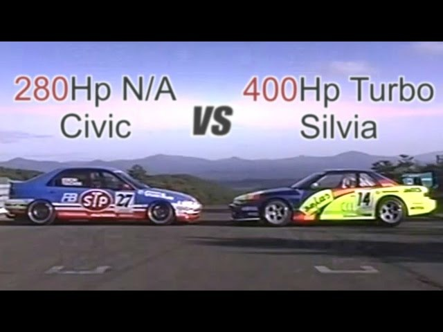 ENG CC N A vs Turbo 280Hp Civic vs 400Hp Silvia battle in Ebisu HV12