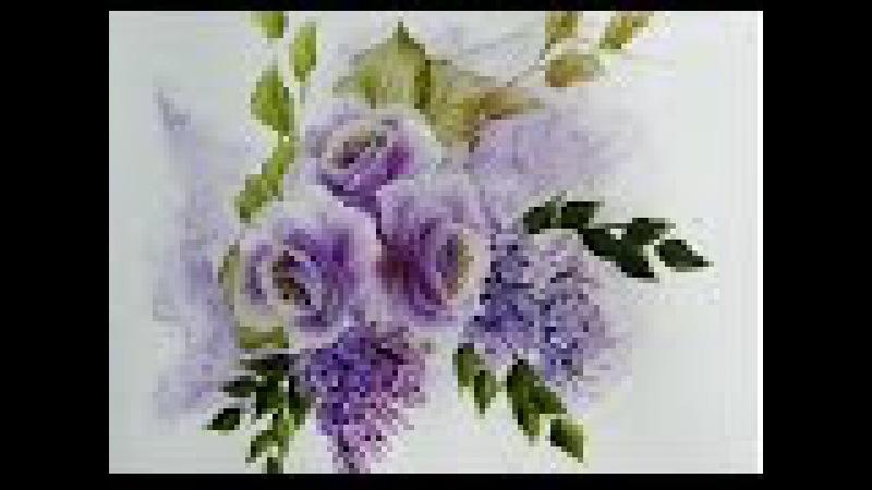 Painting roses , rosas glicinias ,one stroke painting .