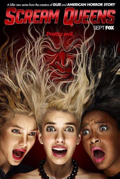Канал Fox опубликовал новый, основной постер своего нового сериала «Королевы крика». На нем мы видим Эбигэйл Бреслин, Эмму Робертс и Кеке Палмер. Девушки играют студенток, живущих в кампусе, по которому прокатывается волна кровавых убийств, а руководство