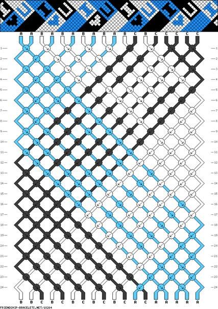 Схема фенечки в 3 цвета I LOVE