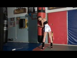 Backstage shooting clothing for boxing, model Christina