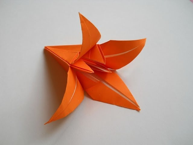 Лилия оригами origami lily КАК сделать Лилию из бумаги Лилия lily