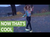 Girl's sick dance moves while wearing LED shoes
