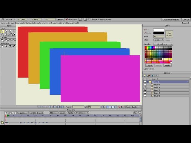 Anime Studio Pro (Moho Pro) - Как анимировать порядок слоёв в групповом слое и позицию форм (шейпов)