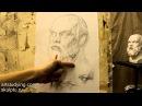Обучение рисунку Портрет 15 серия рисунок гипсовой головы Сократа часть 1