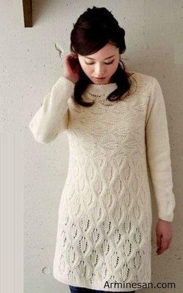 Хотите платье с шикарным узором? Вот вам схема ажурного узора из японского журнала…. (2 фото) - картинка