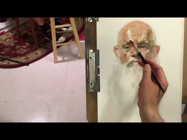 John, live model watercolor painting demo, by Zimou Tan