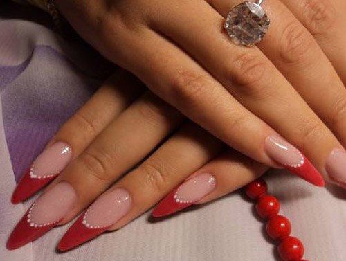 фото острых ногтей красным гелем фото