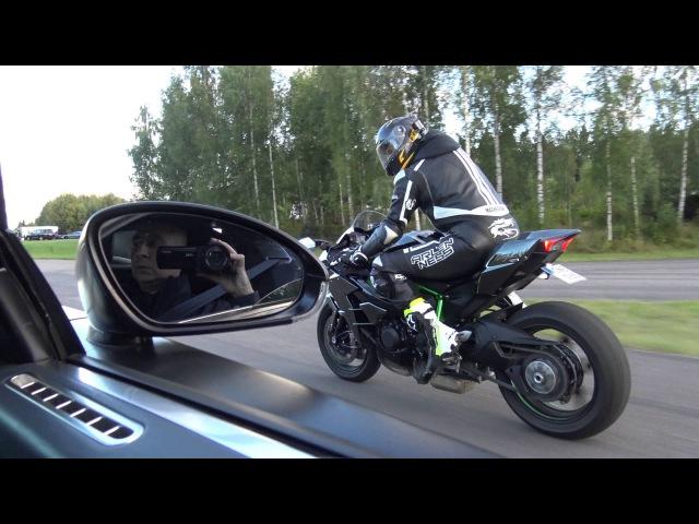 [4k] Uncut Kawasaki Ninja H2 vs Bugatti Veyron 16.4 Dutchbugs in 4k Ultra HD