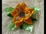 Flor de fita de Cetim com duas camadas Passo a Passo -Ribbon Flower-diy.