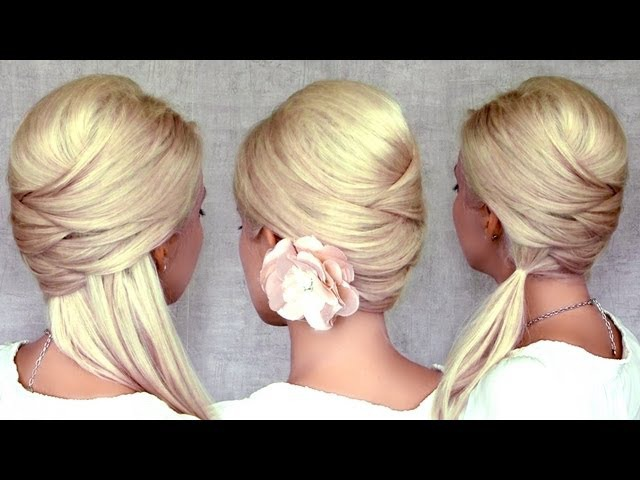 Cute Christmas, New Year's eve hairstyles for medium long hair tutorial