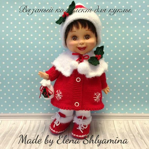 Рождество . Вязаный комплект одежды для куклы....
